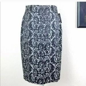 Worthington Black Paisley Lace Staight Skirt